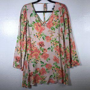 Lulu's Sz S Floral Long Sleeve Flowy Tunic Dress